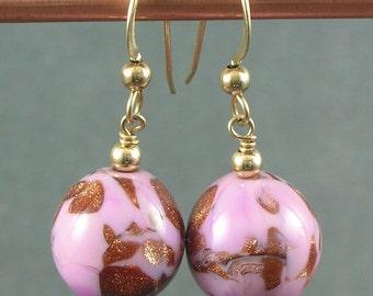 Vintage Pink Italian Glass Earrings