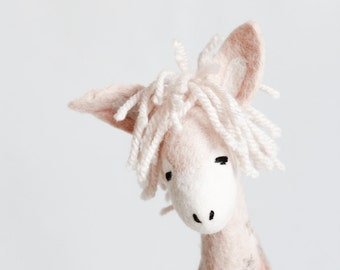 Felt toy, Sofia - 100% Organic toys Felt Donkey waldorf doll soft stuffed  toy Plant Dyed, Puppet Marionette toy, baby shower gift, pink
