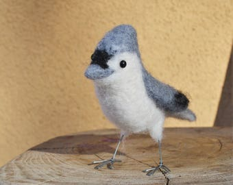 Mr. Tufted Titmouse or Black-Crested Titmouse, needle felted bird art sculpture