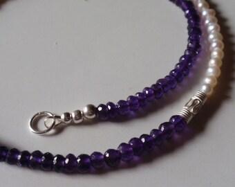 Amethyst Necklace mit pearls  (JK 734)