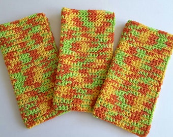 Crochet Wash Cloths Crochet Dish Cloths 100% Cotton Handmade Washrag Set of 3 Kitchen Dishcloths Facial Cloth Crocheted Dish Cloths