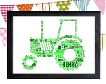 Personalized Gift Tractor Gift For Farmers Gift For Boy Wall Art Wall Prints Wall Art Wall Decor Personalised Gift Wall Art Prints
