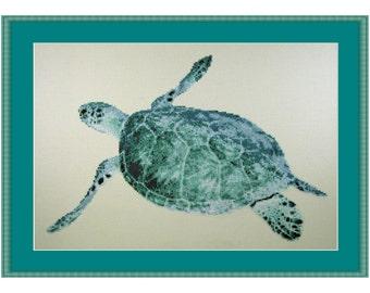 Turtle Ocean, Cross Stitch Kit Sea Turtle