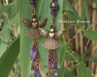 Angel Charm & Amethyst Feather Earrings ~ Chain Dangles