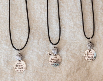 Volleyball inspirational message and personalized initial necklace