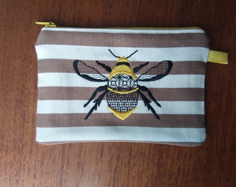 Embroidered Bee coin purse