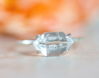 Herkimer Diamond and Sterling Silver Ring, Crystal Ring