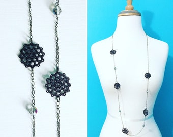 Belmont Crochet Necklace - Charcoal