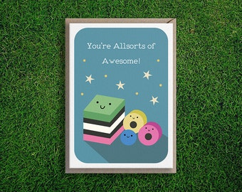 Greeting Cards   Congratulations Card, Encouragement, Friendship, You Are Awesome Cute & Quirky Pun, Blue.
