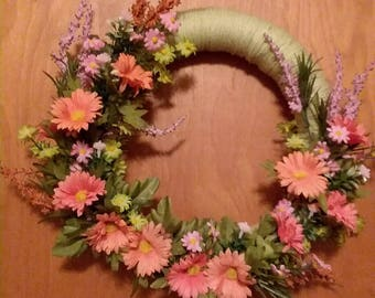 Peach Flower Wreath