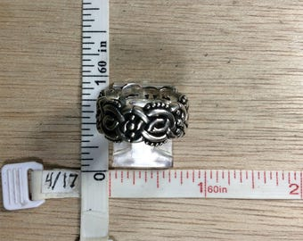 Vintage 925 Sterling Silver 9.6g Knotwork Ring Size 6.5 Used
