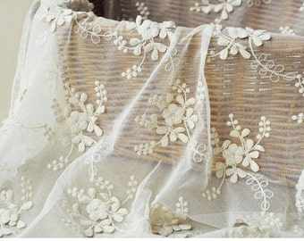 3D cotton lace fabric, cotton lace fabric with 3D flowers