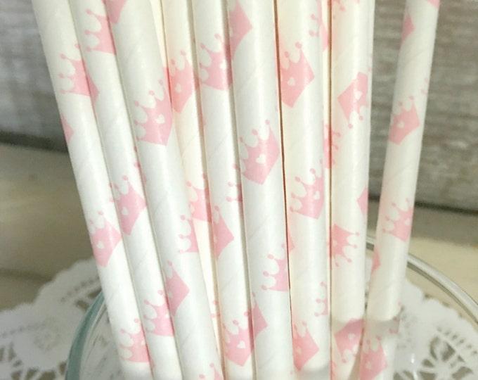 Princess Crown Paper Straws, Vintage Paper Straws, Light Pink, Princess Party, Cinderella Straws, Baby Shower, Cake Pop Sticks, 25 straws