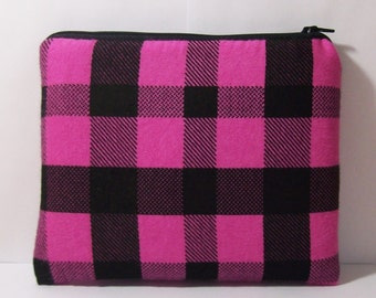 """Padded Pipe Pouch, Pink + Black Bag, Plaid Pipe Case, XL Pipe Bag, Stoner Gift, Hipster Bag, Grunge Bag, Gadget Pouch, 7.5"""" x 6"""" - X LARGE"""