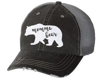 Momma Bear Distressed Ladies Baseball Hat | Mesh | Trucker | Mom Life | Mama