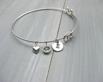 Sterling Silver Bangle Bracelet Adjustable Bangle Initial Heart Birthstone Bridesmaid Gift Mothers Bracelet New Mom Gift Birthday Gift