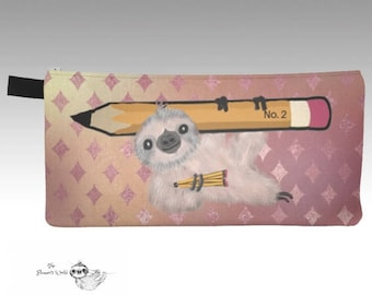 Kawaii Sloth Pouch - Pencil Pouch cute - Pencil Case - storage bag - organizer - sloths - Sloth Pencil Case - Back to  School - sloth bag