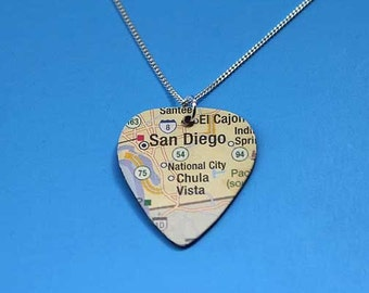 Recycled map guitar pick necklace-personalized in sterling silver