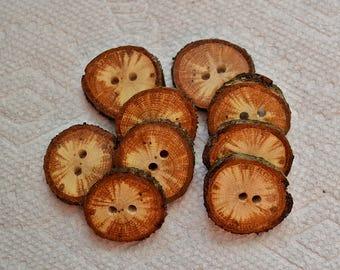Boutons en bois boutons en bois, boutons de branche d'arbre au crochet boutons col boutons quantité de 8... échauffé chêne 1» boutons lot 437
