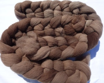 Brown Southdown - Hand Dyed Wool Roving (Top) - 100g