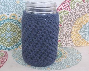 Crochet Mason Jar Cozy - Quart Jar Cover - Bottle Cozy - Quart Mason Jar Sleeve - 32oz Cover - Navy Blue - Quart sized - Ball - Gift Idea