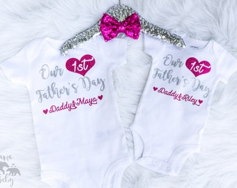 Baby Girl's Our First Father's Day Onesie, Personalized Fathers Day Onesie, Daddy's Day, 1st Fathers Day Shirt, Father's Day Gift