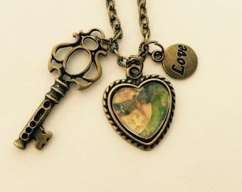 Dragonfly & Key charm necklace