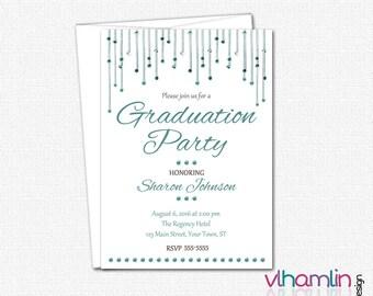 Dangling Mirrors Graduation Invitations - High School or College Graduation Invitation - Printed or Printable | color choice girl elegant
