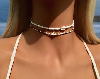 Shell Choker Necklace, Beach Choker, White Choker Necklace, Choker Collar, Boho Choker, Bohemian Necklace, Mermaid Choker, Bridal Choker