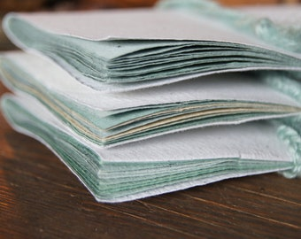 Tiny Simple Notebook - Handmade Paper - 10 pages - Shades of Green Pages - Multicolored - Camaïeu - Green Mint Book - Little Journal
