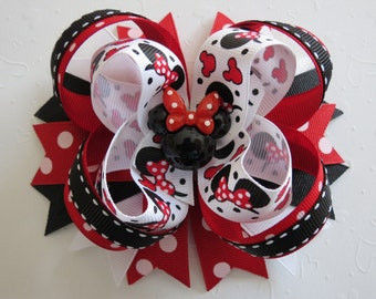 MINNIE MOUSE Disney hair bow headband Red Black grosgrain barrette alligator clip resin Toddler girl Cici's Boutique