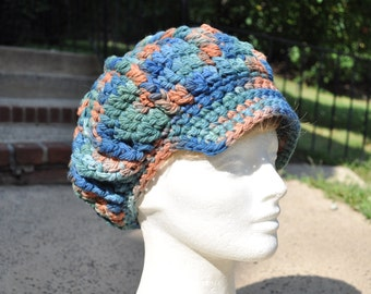 Fine Wool Blue, Green and Rust Crocheted Newsboy Hat - Woman's Hat - Wool Hat - Winter Accessories