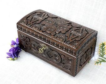 Large jewelry box, Lock wooden box, Personalized ring box, Wood carving, Tarot box, Jewelry organizer, Lock wood box, Black jewellery Box B2