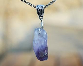 Raw amethyst pendant necklace, Raw amethyst jewelry, Amethyst pendant, Amethyst necklace, Amethyst jewelry, Amethyst gift, Amethyst pendant
