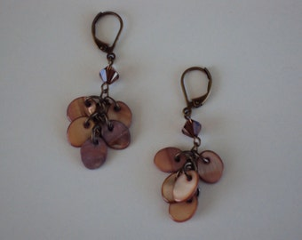 Dangle Earrings with Mother of Pearl and Swarovski Crystals