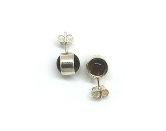 Lear Collection | Stud Earrings Smoky Quartz | Sterling Silver 925 and Smoky Quartz | Brown