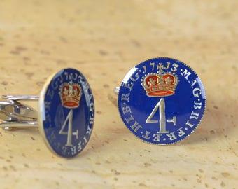 Enamel coin 4 pence Cufflinks Great Britain.United Kingdom.