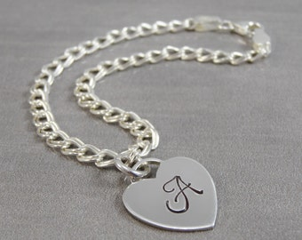 Hand Stamped Jewelry - Personalized Jewelry - Mom Bracelet - Sterling Silver Charm Bracelet - 1 to 4 charms - Initials - Heart