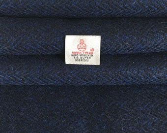Navy Herringbone Harris Tweed, Fabric Piece - 30 x 25cm With Authenticity Label