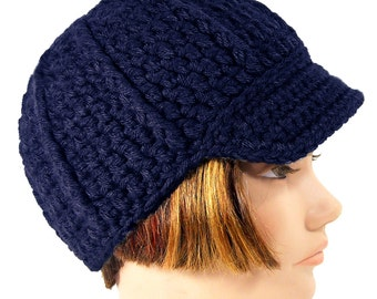 Blue Newsboy Beanie with Visor