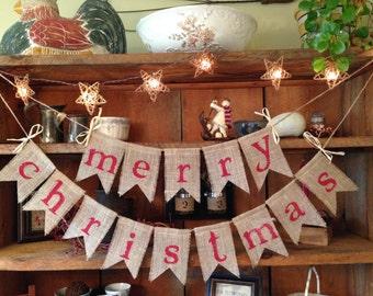 Red Christmas Banner, Christmas Bunting, Holiday Bunting, Christmas Banner, Christmas Burlap Bunting, Rustic Christmas
