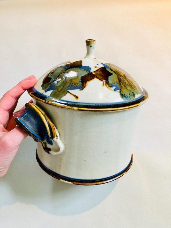 Vintage Glazed Ceramic Pot - Artist's Pot with Lid + Handles - Large Vintage Ceramic Dutch Oven