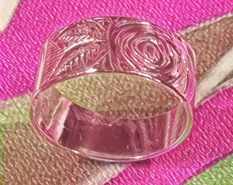 Pure Silver Rose and Leaf Band