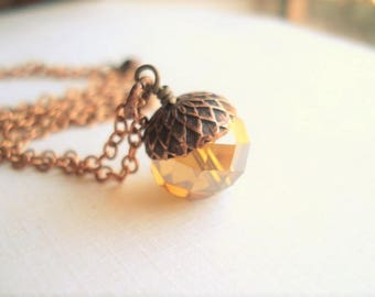 Glass Acorn Necklace Copper Amber Acorn Charm Necklace