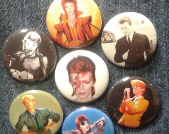 "David Bowie set de badges 1"" Ziggy Stardust Thin White Duke"