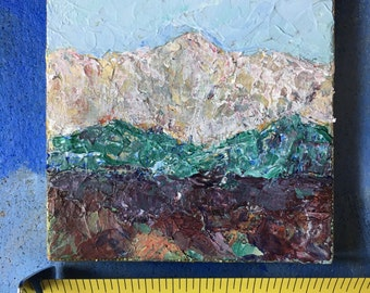 Miniature Original Acrylic Mountain Painting #18