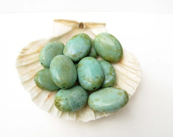 Green Oval Bead Dyed Magnesite Focal Green Brown Bead 2 Bead Beads  Meditation  Chakra Necklace bracelet jewelry Supply #121