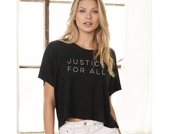 Justice for All - Women's Flowy Boxy Crop Top Shirt -  Constitution - Q anon