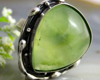 Statement Ring Prehnite Ring Green Stone Sterling Silver