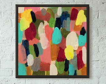 Simply Pretend 5 of 6 // Modern Abstract Art Original Bold x8 Mixed Media Acrylic Painting on Canvas Panel, Free US Shipping, Lisa Barbero
